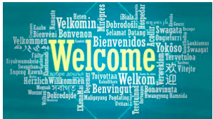 Welcome written in numerous different languages.