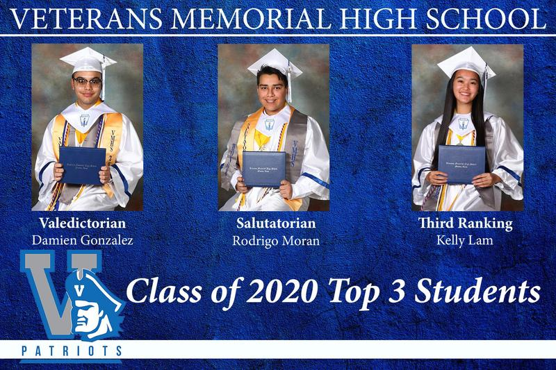 VMHS top three students for 2020