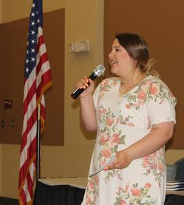Student speaking at Rotary Club speech contest