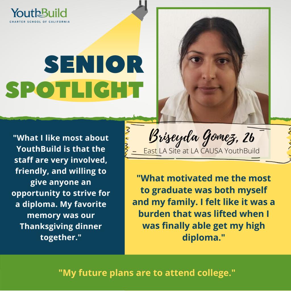Senior Spotlight for graduate Briseyda Gomez