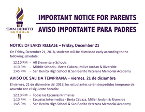 Notice of Early Release flyer