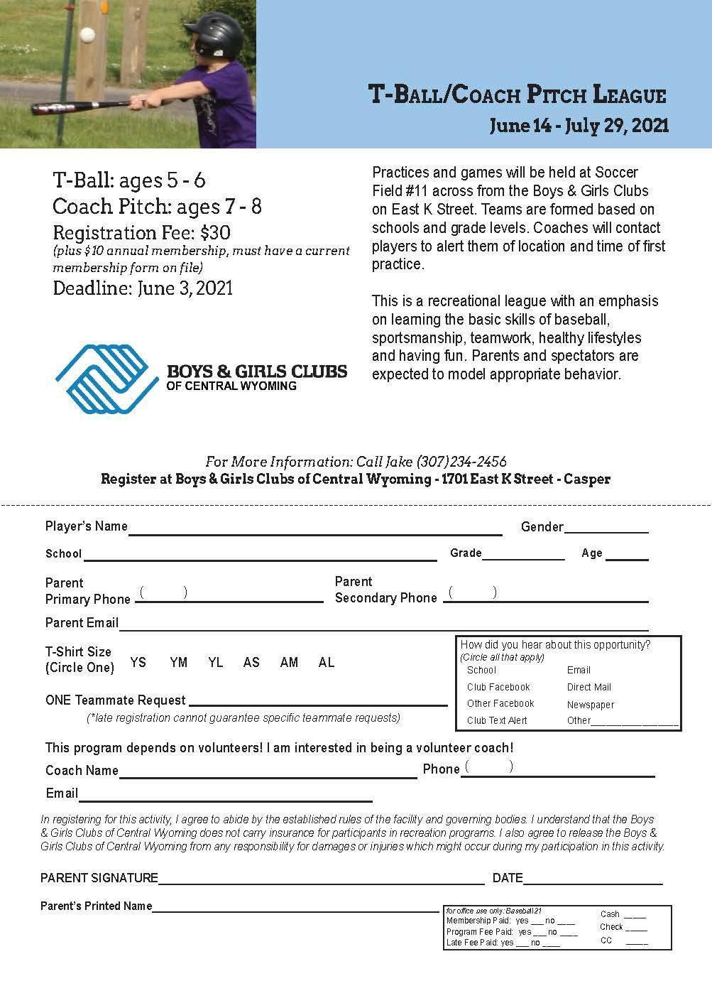 T-ball League Registration flyer