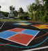 """Colored Four Square game areas are among the features of a new """"Oasis"""" area at McKinley Elementary School."""