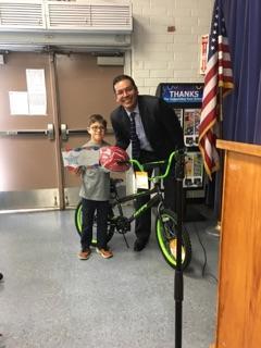 Perfect Attendance bike winner - Aiden!