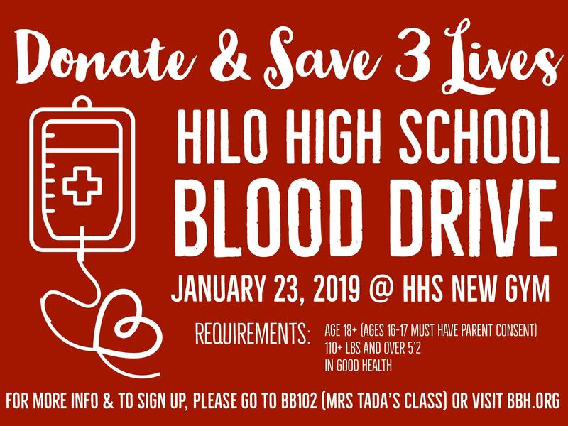 January 23, 2019 - Hilo High School Blood Drive Featured Photo