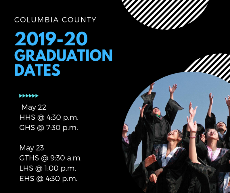 At our recent board retreat, the board agreed we should add thirty minutes between ceremonies. So, the graduation ceremony times will be as follows:     May 22  HHS @ 4:30 p.m.  GHS @ 7:30 p.m.     May 23  GTHS @ 9:30 a.m.  LHS @ 1:00 p.m.  EHS @ 4:30 p.m.
