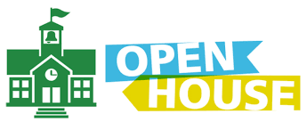 Picture of a school and the words open house