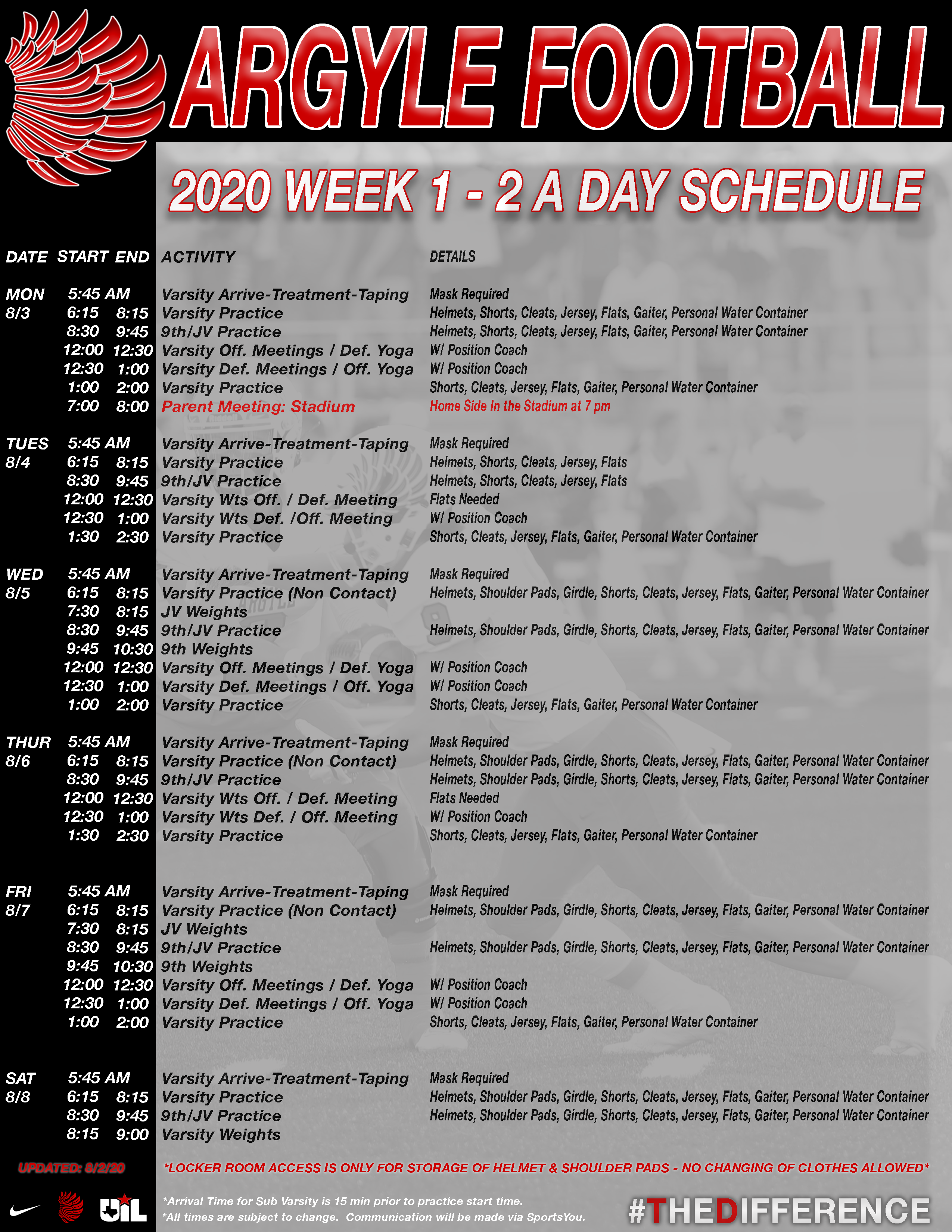 2 A Day Schedule - Week 1 Updated 8.2.2020