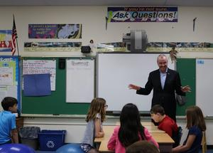NJ Governor Phil Murphy speaks to a 5th grade class at Wilson School.