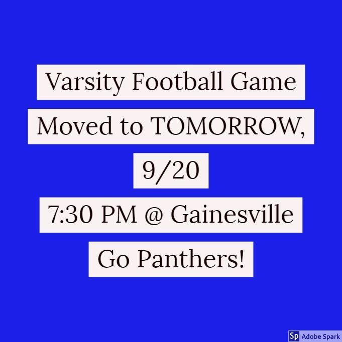 Varsity Football Game Date Change! Thumbnail Image