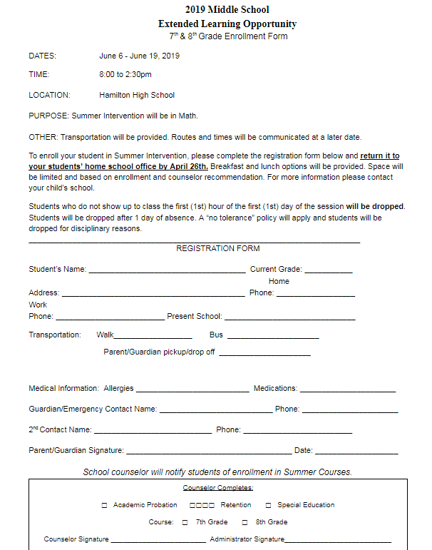 Summer School Application for Math at Hamilton HS.