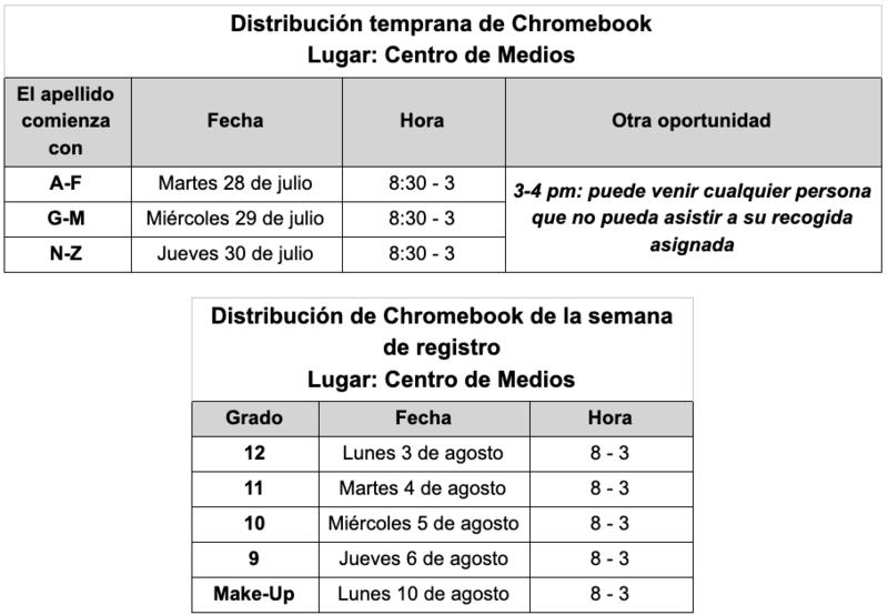 2020 Chromebook Distribution Schedule For New Students/ Calendario de distribución de Chromebook 2020 para nuevos estudiantes Featured Photo