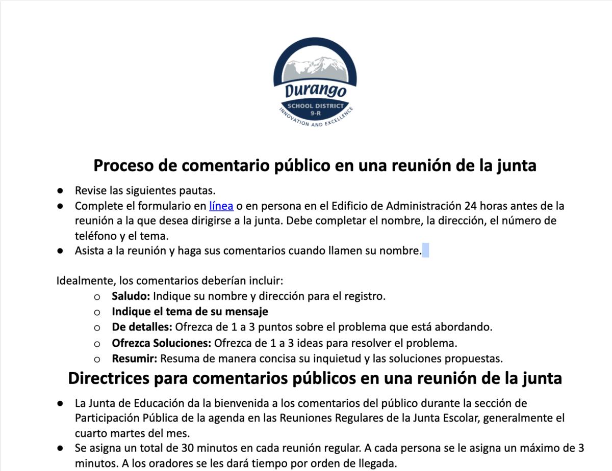 Spanish public participation form screenshot