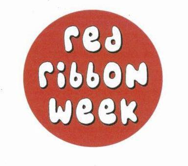 Red circle with words Red Ribbon Week in white.