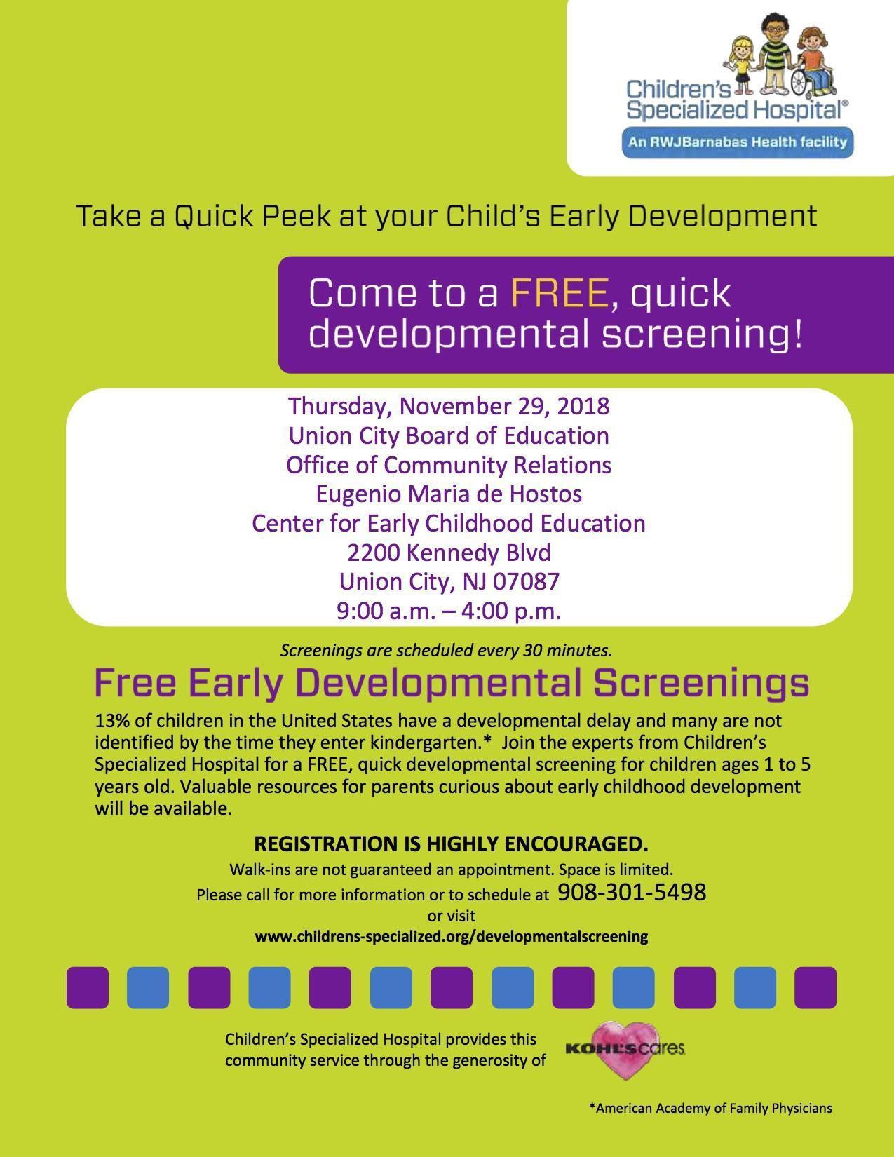 free developmental screening flyer