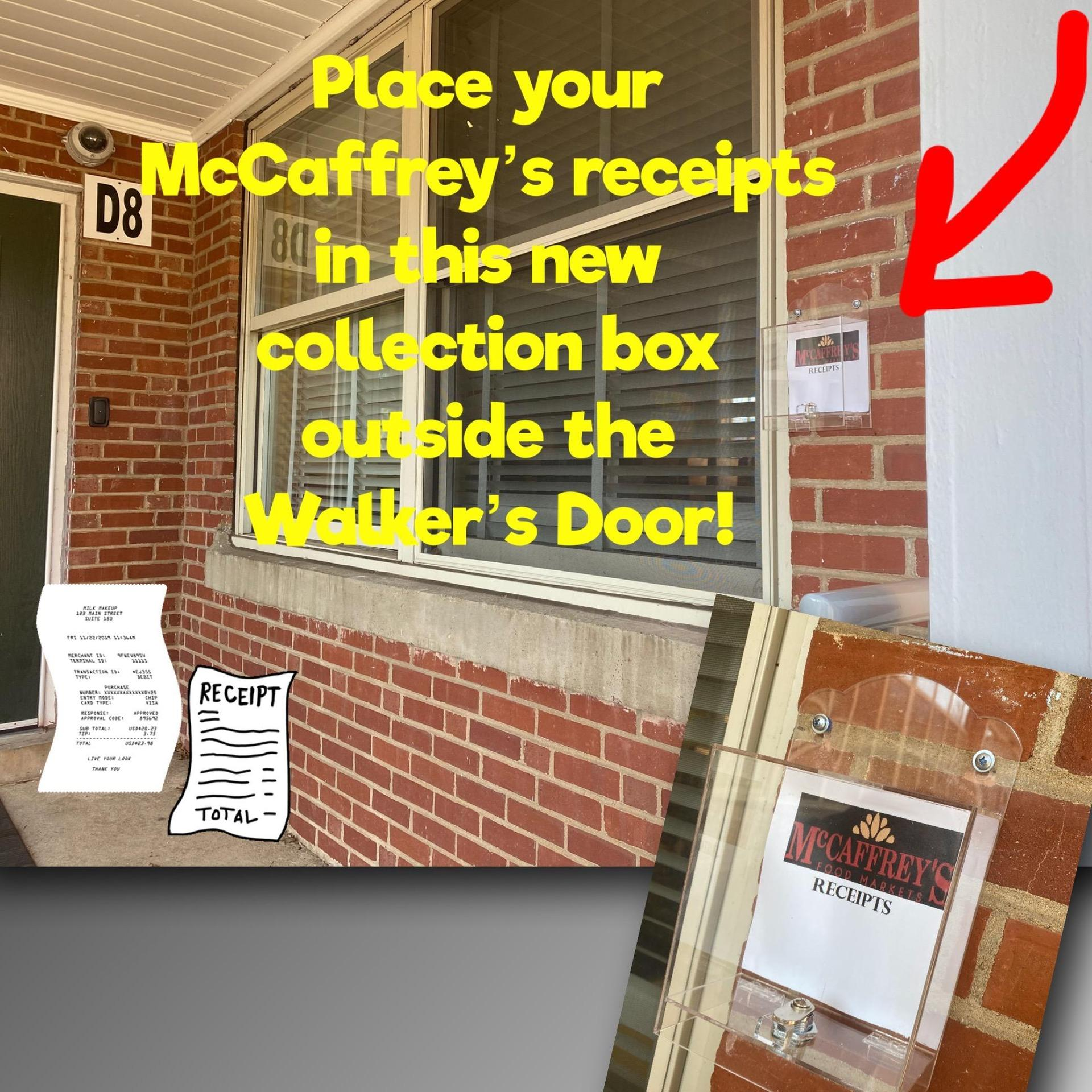 image of plastic receipt collection box attached to brick wall