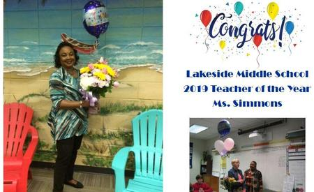 Teacher of the Year 2019- Ms. Simmons