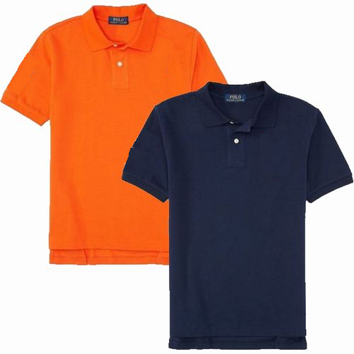 Image of orange polo and navy blue polo