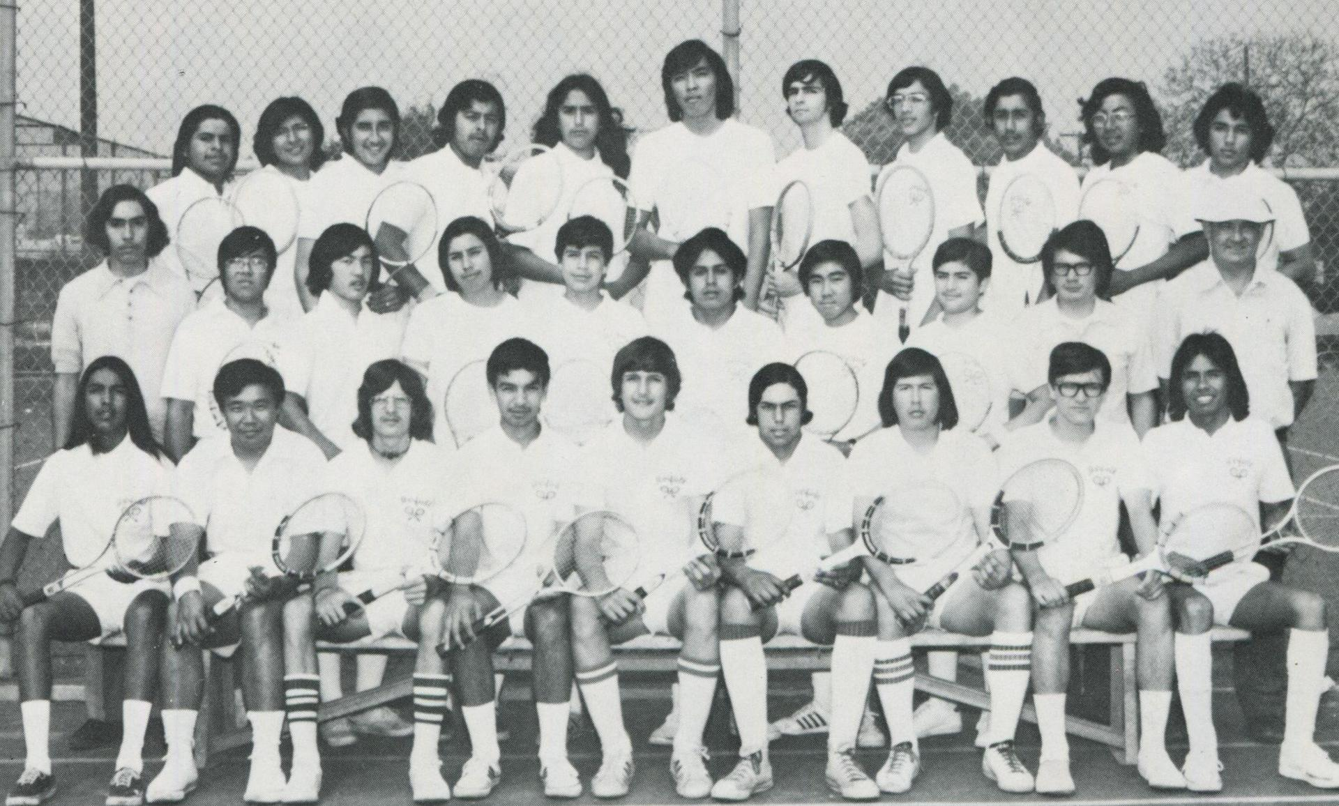 1974 Tennis Team with Coach Hastings