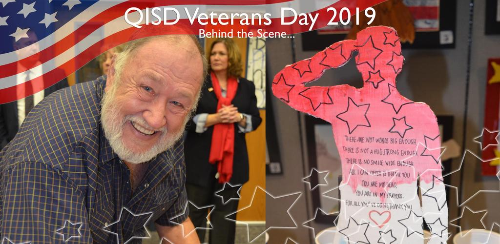 QISD VETERANS DAY 2019 BEHIND THE SCENE...VETERAN MIKE NELSON AND KATHLEEN WITTE IN BACKGROUND, AND STUDENT ARTWORK