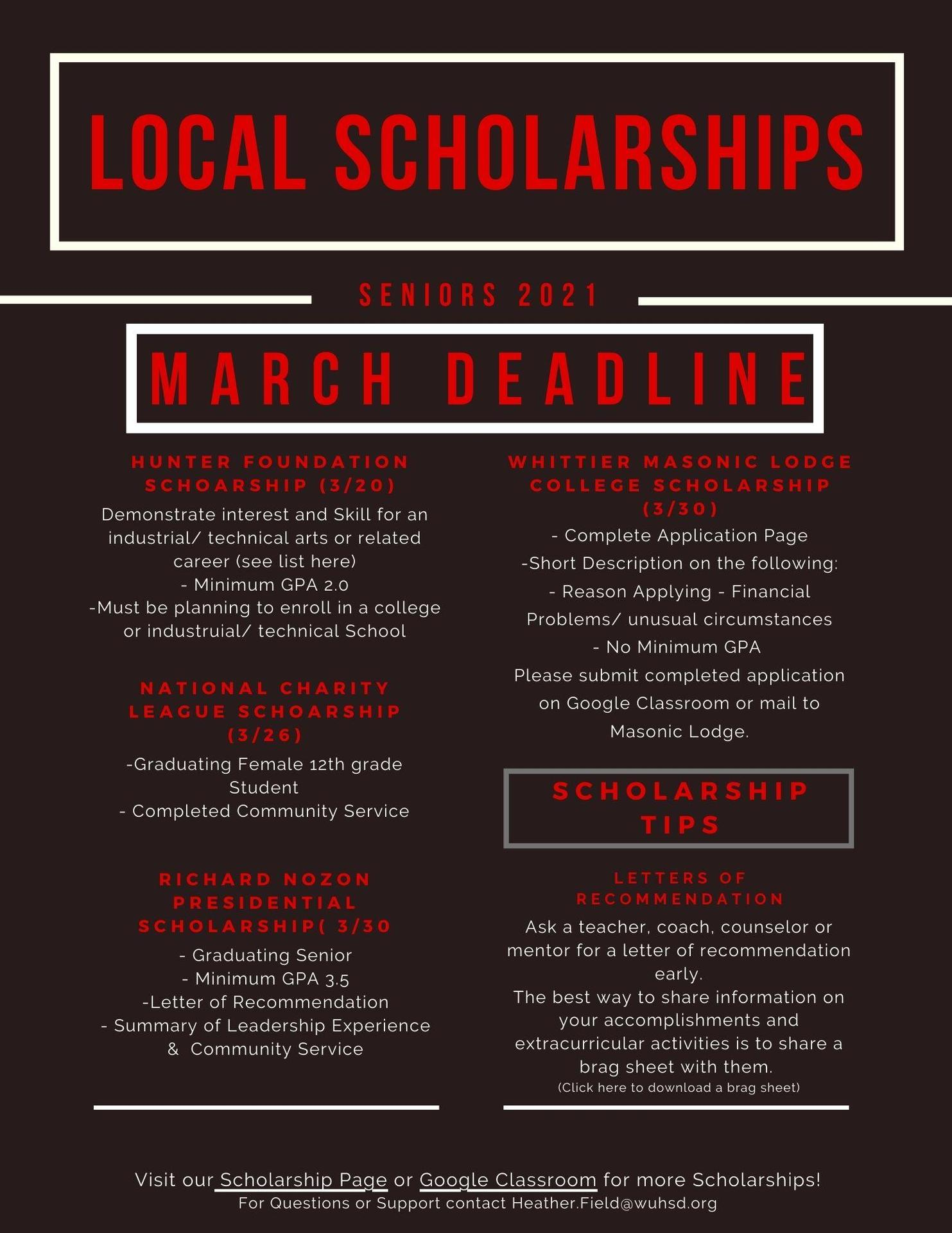March Scholarships