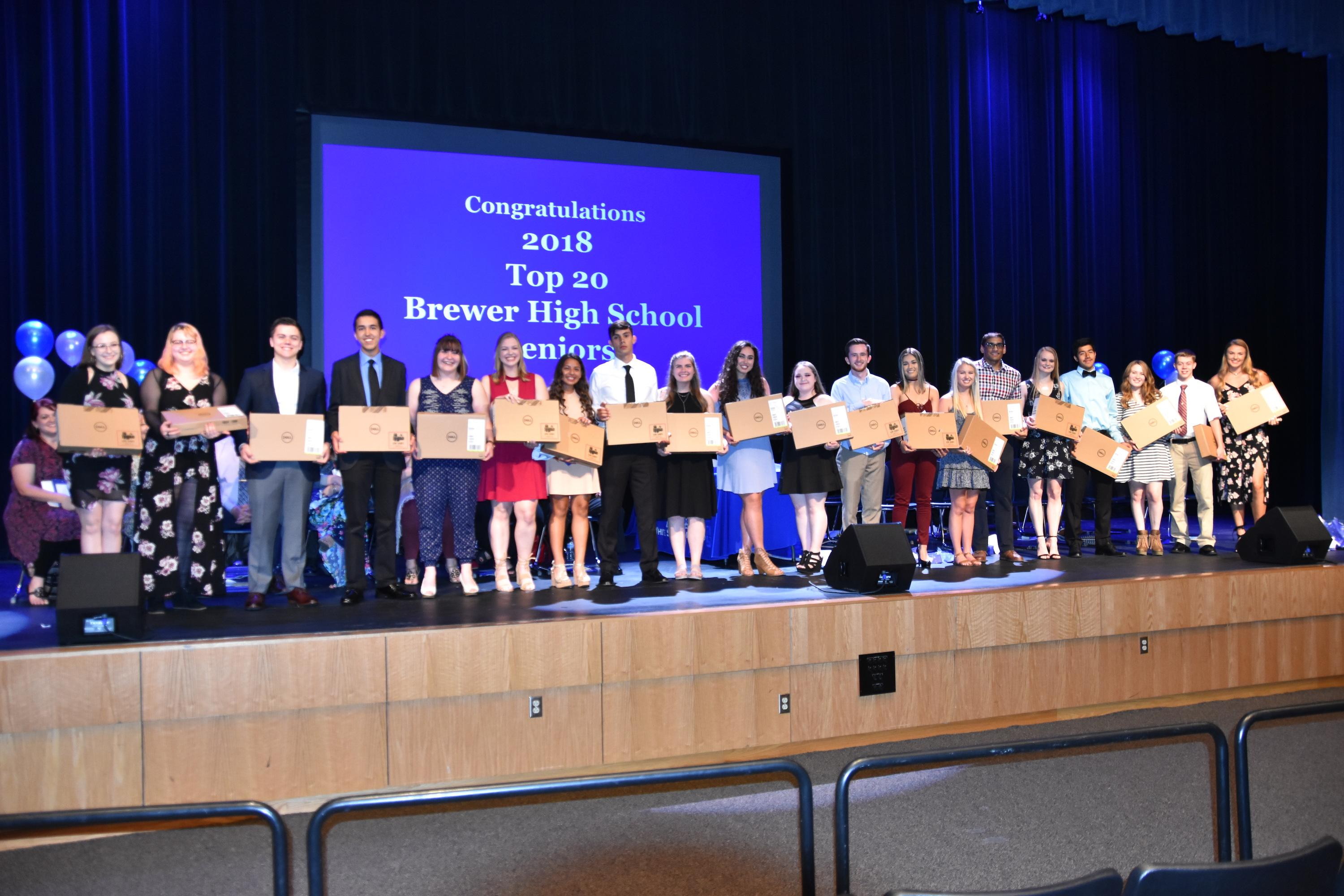 The WSISD Education Foundation honored the top 20 Brewer High School students during its 14th annual Hats Off Academic Recognition Ceremony on May 14.