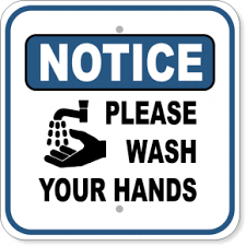 a graphic that says 'Notice Please Wash Your Hands'