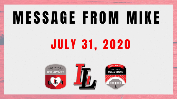 Message from Mike: July 31, 2020 Featured Photo