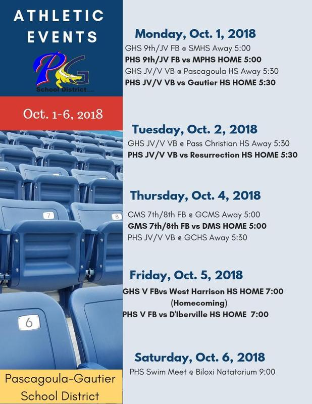 Athletic Events for Week of Oct. 1-6, 2018