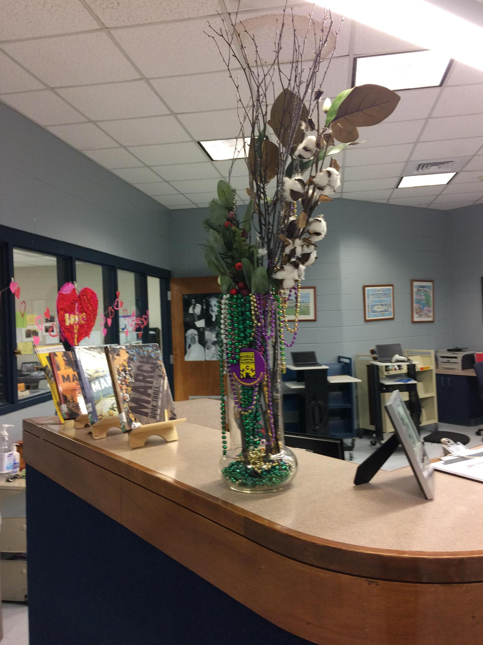 Valentines display in library