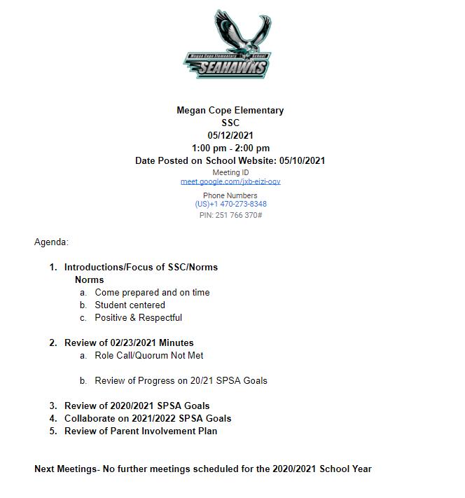 5/12/21 Meeting Agenda