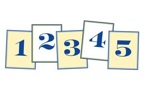 Five cards numbered 1, 2, 3, 4 and 5