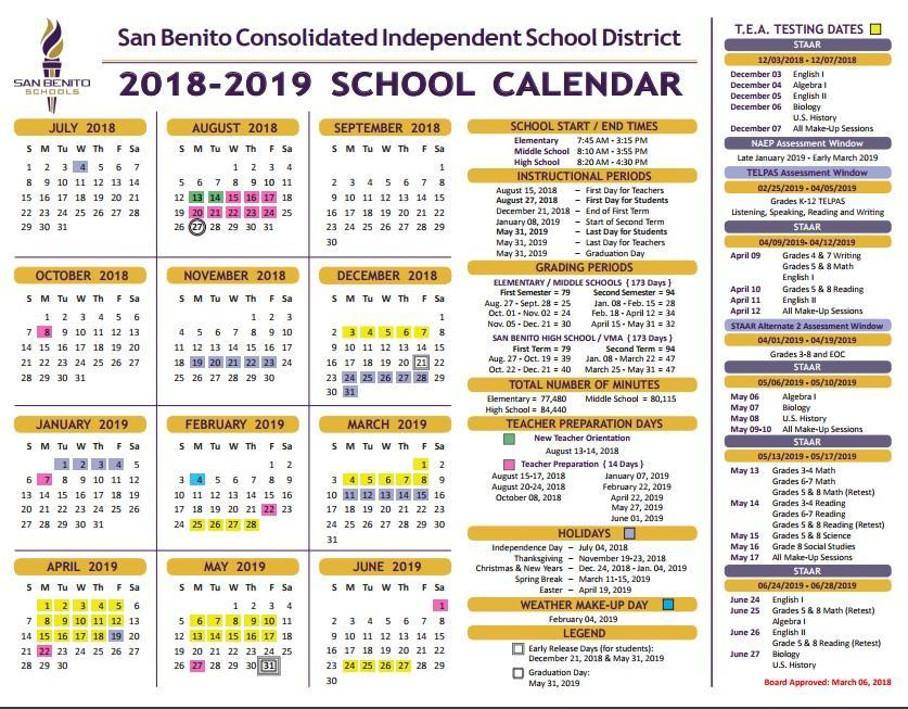 school calendar 18-19