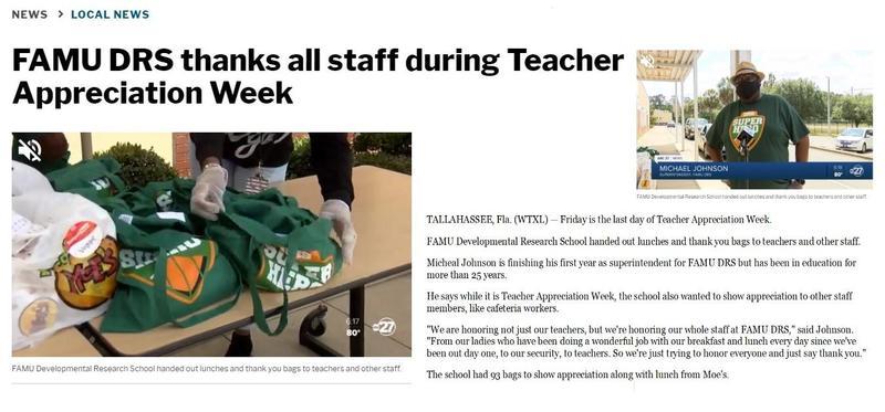 FAMU DRS Thanks All Teachers and Staff During Teacher Appreciation Week Featured Photo