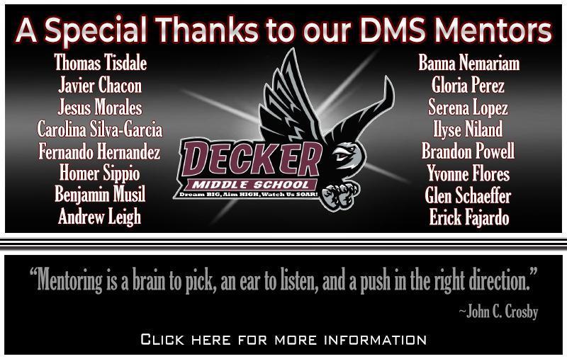 Decker Middle School Appreciates Mentors Thumbnail Image