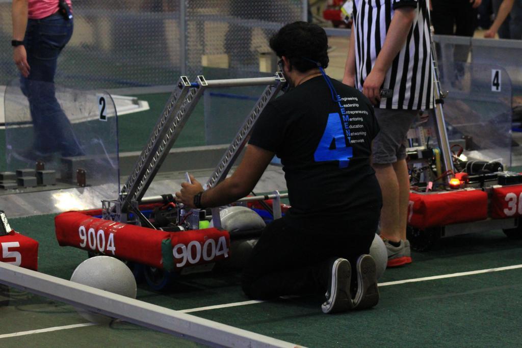 Ali setting up practice robot