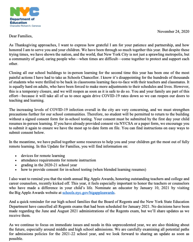 Thanksgiving Letter from Chancellor