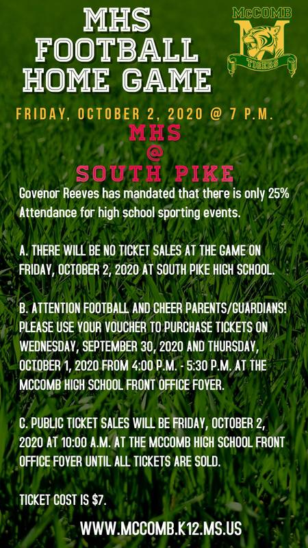 McComb High School Football Vs South Pike High School Friday, October 2, 2020 @ 7 p.m. at South Pike