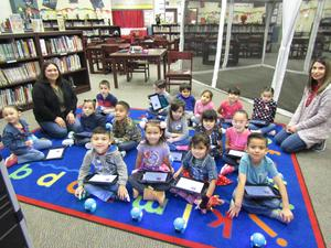 Pre-Kinder students coding Dot.