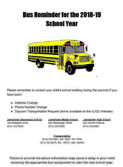 Transportation Reminder Flyer