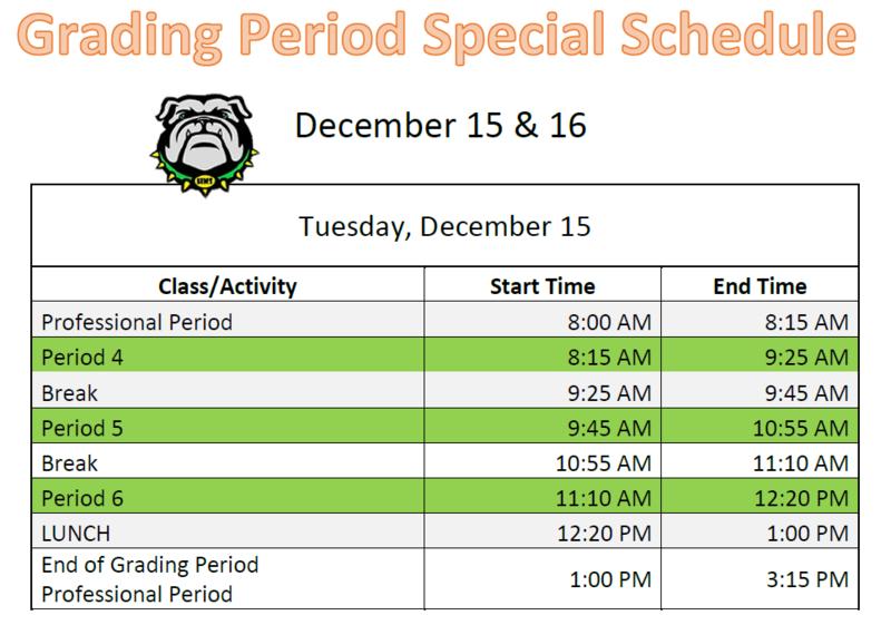 special schedule December 15