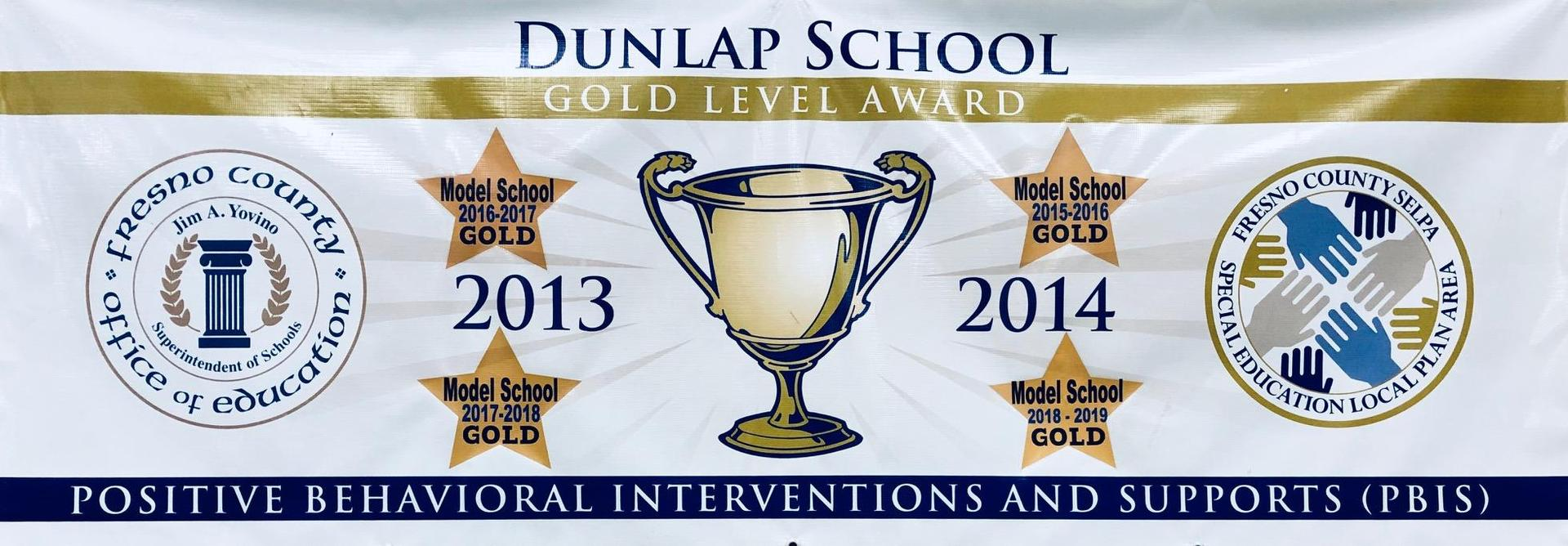 PBIS Gold Level Banner.