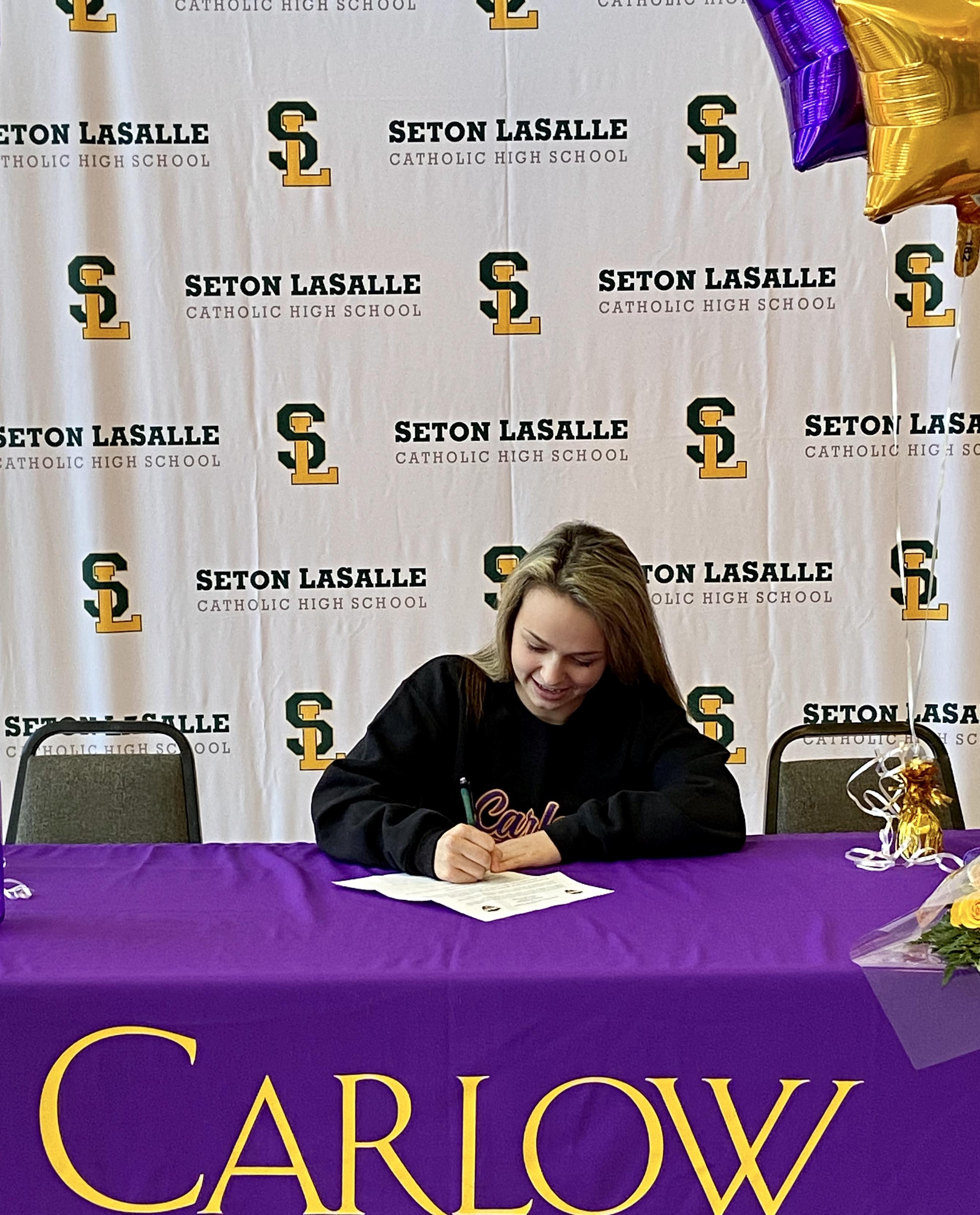 Class of 2020 senior signs her letter of intent to play softball at Carlow University