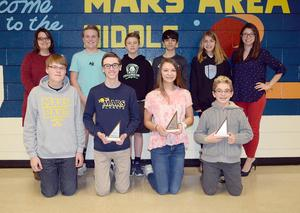 Members of Mars Area Middle School's MathCounts Team are (back row, from left) Melissa Ola (advisor), Cooper Courson, Caden Empey, Noah Paul, Madeline Wolf, Mitzi Knapp (advisor), and (front row) Alex Vedernikov, Cole Winstead, Lindsey Gourash and Teo Biaggini.