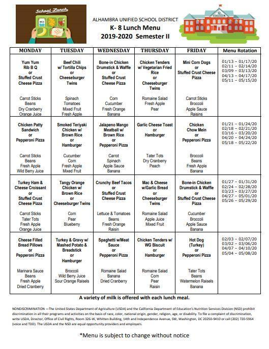 New Lunch and Breakfast Menus for Semester 2 Featured Photo