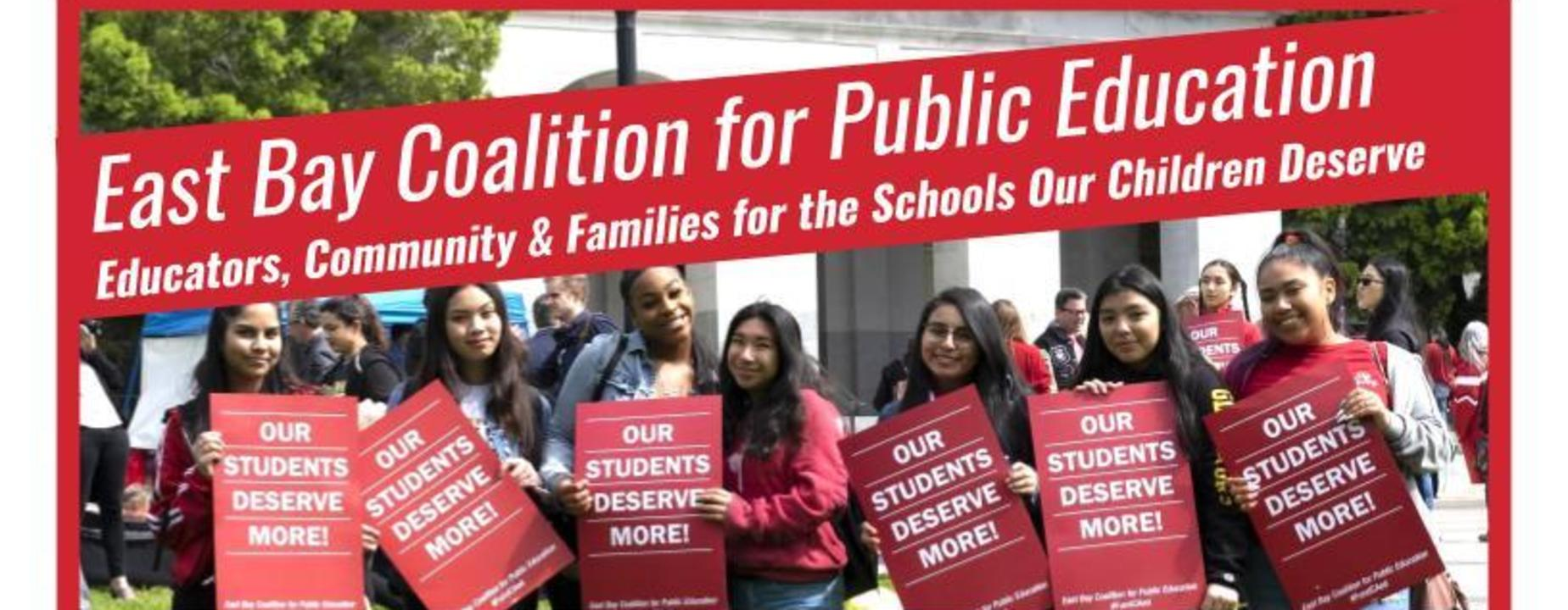 East Bay Coalition flyer with students