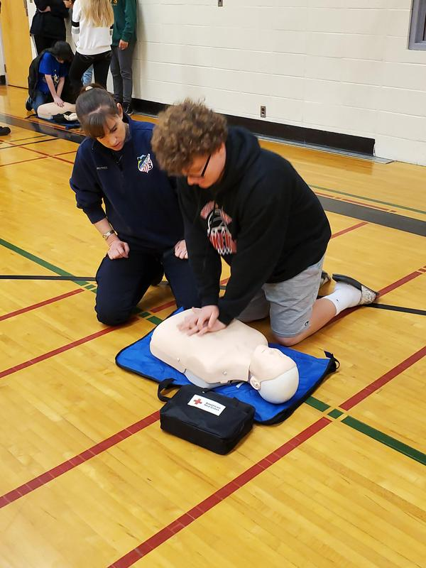 student doing cpr
