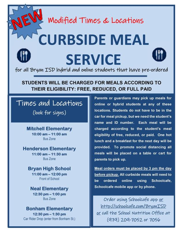 Curbside Meal Information Flyer