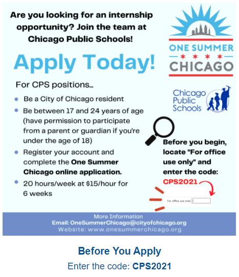 one summer chicago cps internship