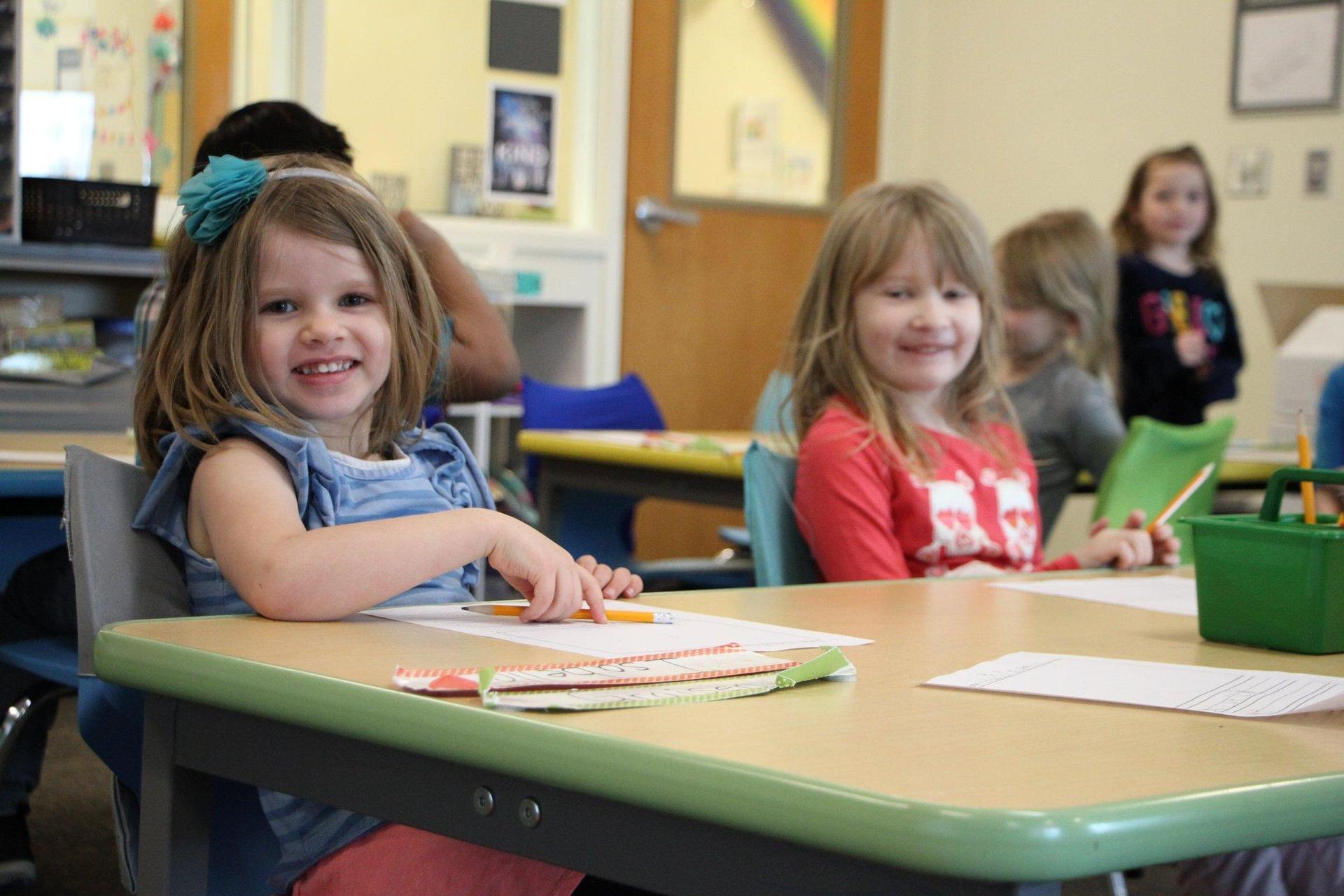 Girls sitting in classroom